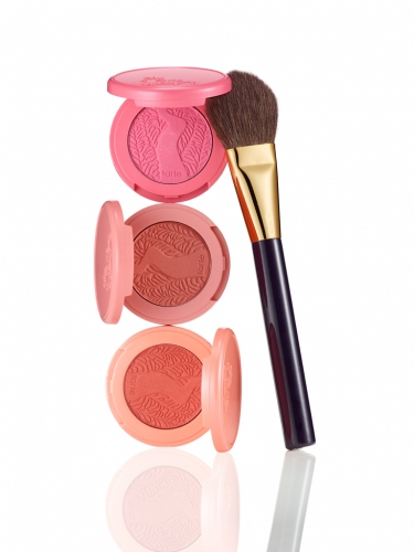 leave her blushing set of 3 deluxe Amazonian clay blushes & blush brush -